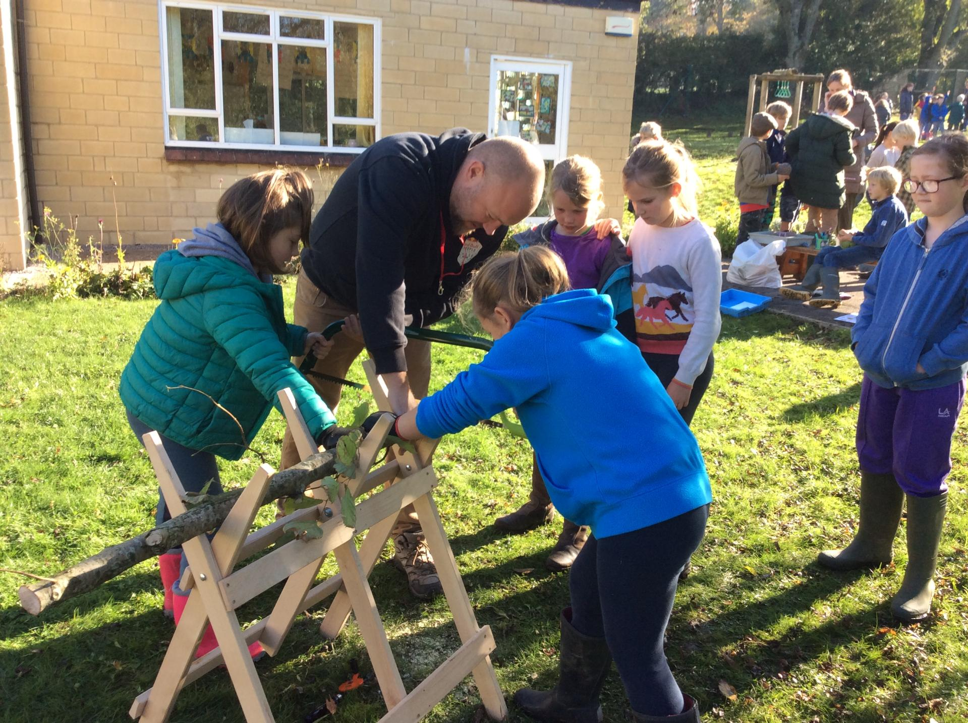 Forest School Day sawing(1)